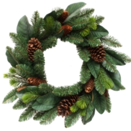 60cm Thick Bushy Classic Forest Pine Wreath with Pine Cones Christmas decoration