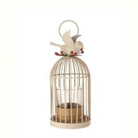125mm Winterberry Birdcage Tealight Holder Christmas Tree Decoration in white
