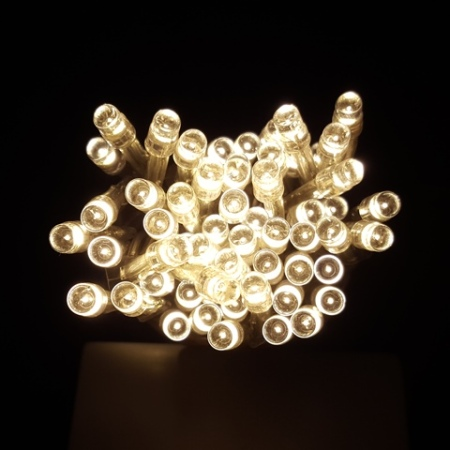 60 light Battery Operated LED Wedding Fairy Lights 6 metres Warm White on Clear Cable