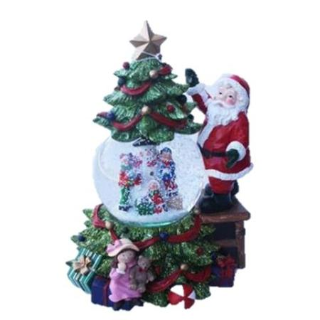 LED Poly Resin Santa and Tree Snowball Christmas Decoration With Lights