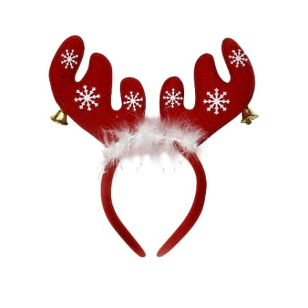 Christmas Reindeer Antlers with Bells and Feathers Headband