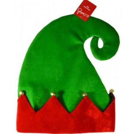 Red and Green Elf Christmas Hat with Bells