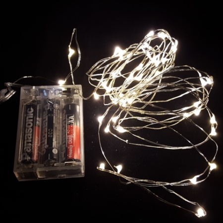 50L 5m Battery Operated LED Warm White Seed Fairy Lights on wire cable