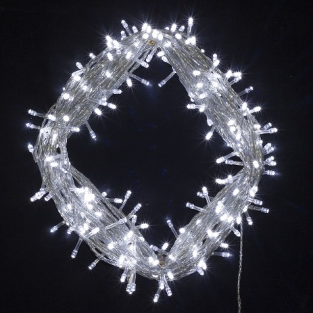 600 White LED Fairy Lights on clear Wire 55 metres