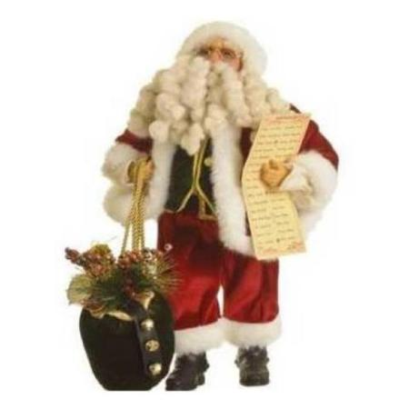45cm Traditional Red Standing Santa with Gift Sack and name list Christmas Decoration