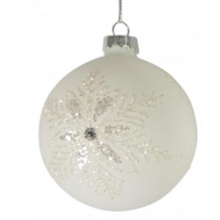 80mm White Glitter Glass Bauble Christmas Tree Decoration 1