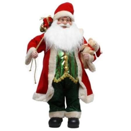 60cm Standing Traditional Red and Green Santa with Gift bag and Teddy Christmas Decoration