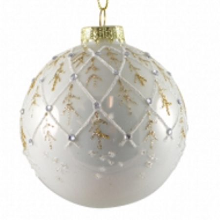 80mm Pearl White Glass Bauble with Glitter & Diamante Christmas Tree Decoration