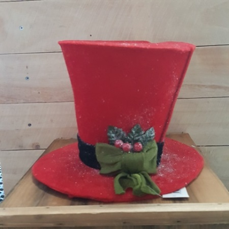 red top hat christmas tree topper decoration