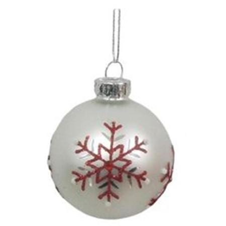60mm Red & White Tree Glass Bauble Christmas Tree Decoration