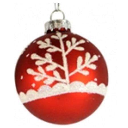 100mm Red with White Tree Glass Bauble Christmas Tree Decoration