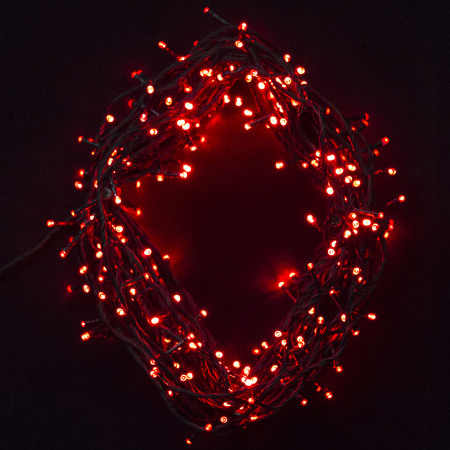 292 Red LED Fairy Lights on Green Wire 20 metres