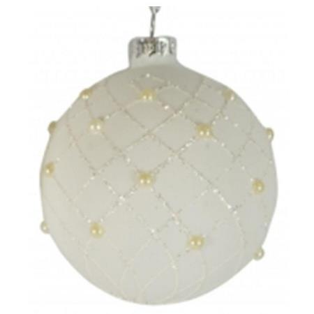 80mm White Glitter Glass Bauble Christmas Tree Decoration 3