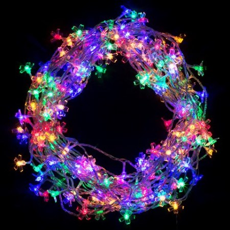 200 Multi Colour LED Cherry Blossom Fairy Lights on Clear Wire 20 metres