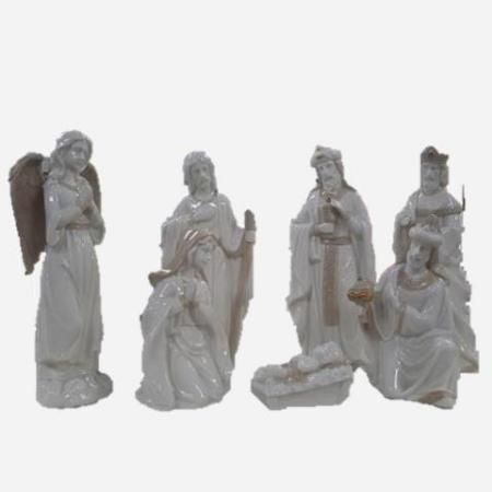 200mm White 7 piece poly resin Nativity Set