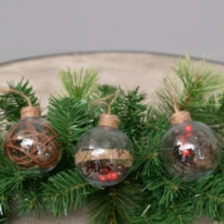 60mm Clear Plastic Bauble with Berries inside Christmas Tree Decoration