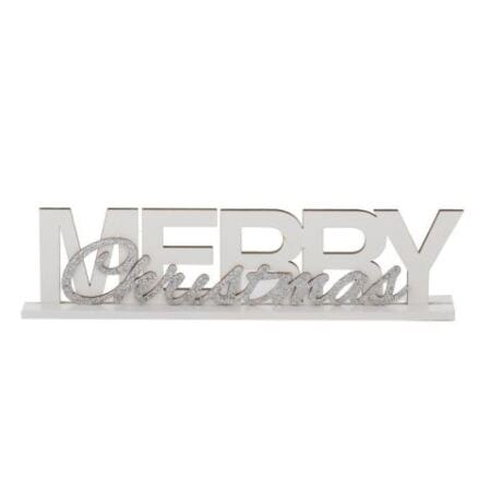 Wood White Merry Christmas Sign Decoration