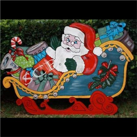 Santa Claus in Sleigh Timber Christmas Cut Out Decoration