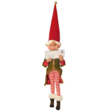Plush 40cm Red and Green Elf with Mail Christmas Decoration