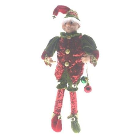 plush red and green mesh elf christmas decoration