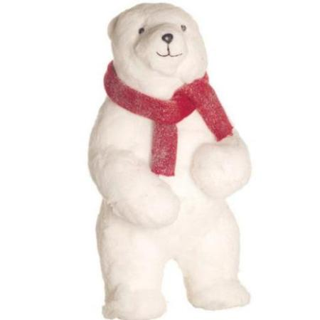 53cm standing ice polar bear white christmas decoration