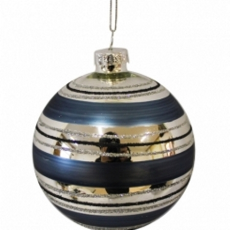 80mm Blue Stripe Glass Christmas Tree Decoration Bauble