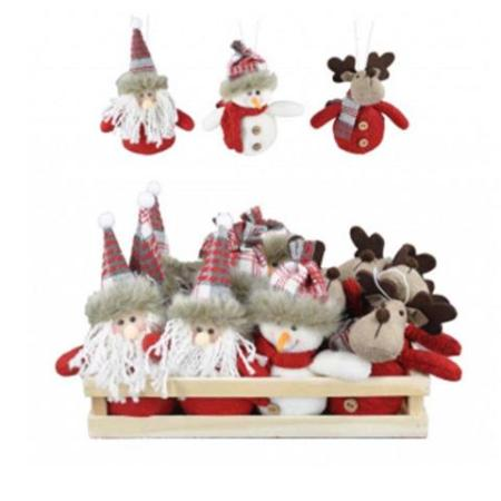 11cm Red and White Hanging Santa, Snowman or Moose Christmas Tree Decoration