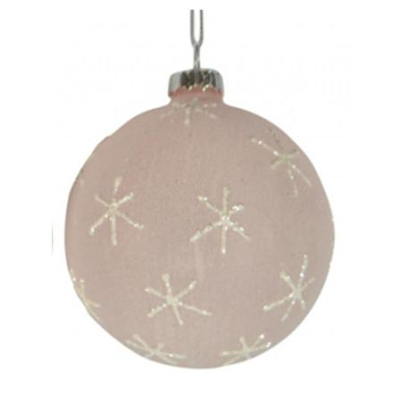 80mm Pink Glitter Glass Bauble Christmas Tree Decoration 3