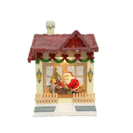Spinning Water LED Santa Christmas House Decoration