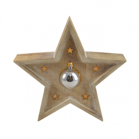 LED Timber 3D Bauble Christmas Star Ornament with Lights