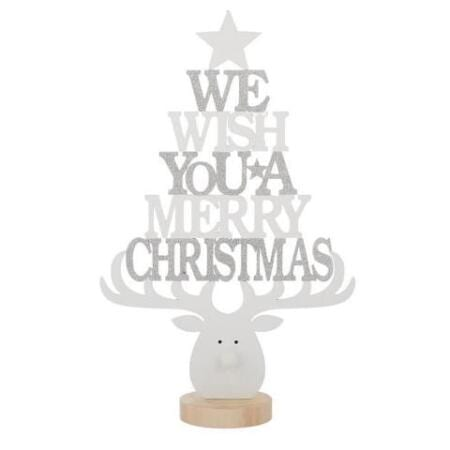 Timber Christmas Tree Shaped Christmas Sign Decoration White