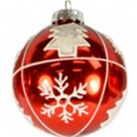 100mm Red & White 4 Pattern Glass Bauble Christmas Tree Decoration
