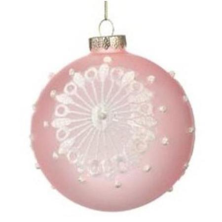 100mm Pastel Pink Round Glass Bauble Christmas Tree Decoration