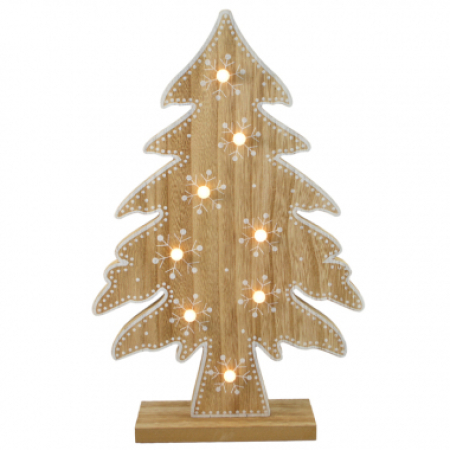 Natural Timber w/White Trim LED Christmas Tree Decoration with Lights