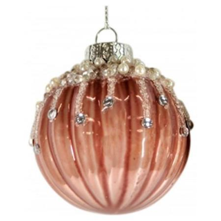 80mm Rose Pink Jewel Glitter Glass Bauble Christmas Tree Decoration 1