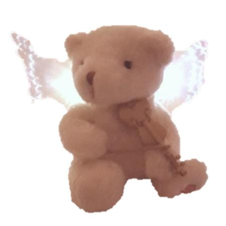 25cm Musical Violin Playing Angel Bear with light up Wings Christmas Decoration