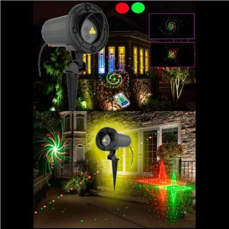 Outdoor Moving Led Red and Green Twelve Pattern Laser Christmas Light with Remote