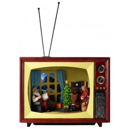 LED Light Up TV Christmas Scene with Santa and Train Christmas Decoration