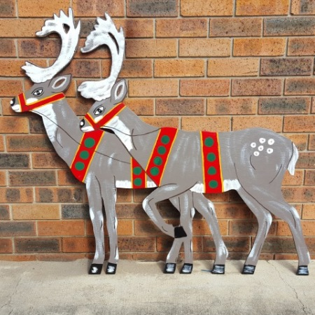 Christmas Reindeer Pair Timber Cut Out Christmas Decoration