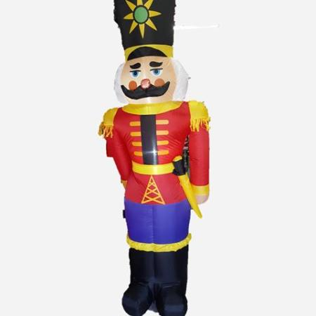 240cm Inflatable Air Blown Outdoor Nutcracker Decoration with lights
