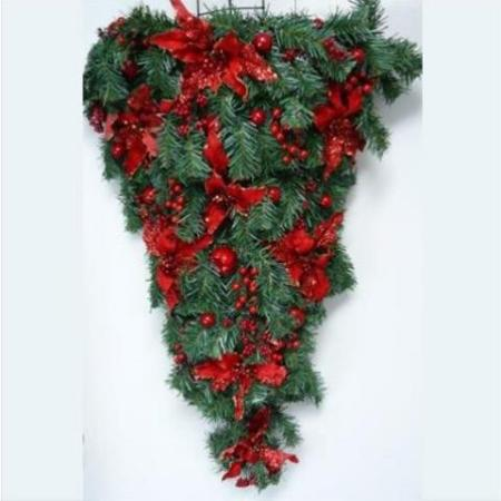 97cm Pre-decorated Hanging  Wall Tree Christmas Decoration in Red