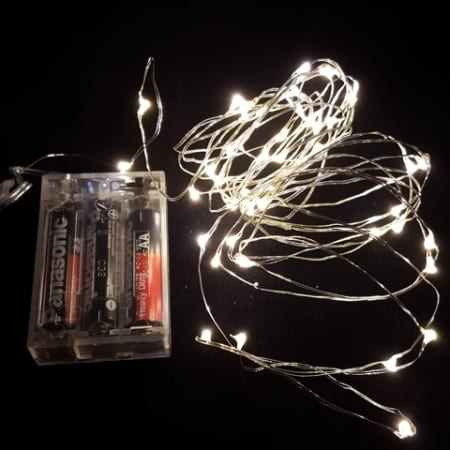 80L 7.9m Battery Operated LED Warm White Seed Fairy Lights on wire cable