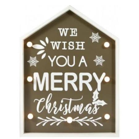 Grey Timber Light Up LED Merry Christmas Frame Decoration