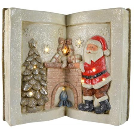 LED Light Up White Santa with Christmas Tree and Fireplace Ceramic Book Christmas Decoration