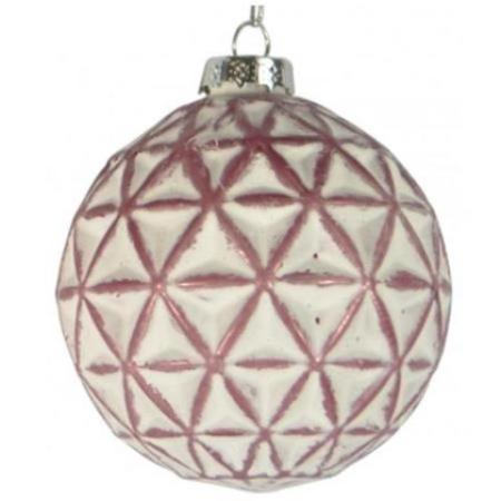 80mm Matt Rose Pink and White Geometric Glass Bauble Christmas Tree Decoration 2