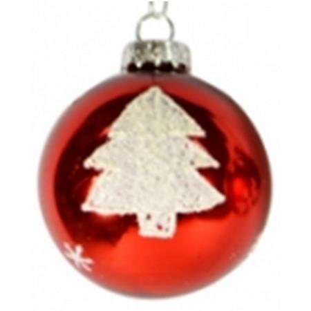 60mm Red and White Tree Glass Bauble Christmas Tree Decoration