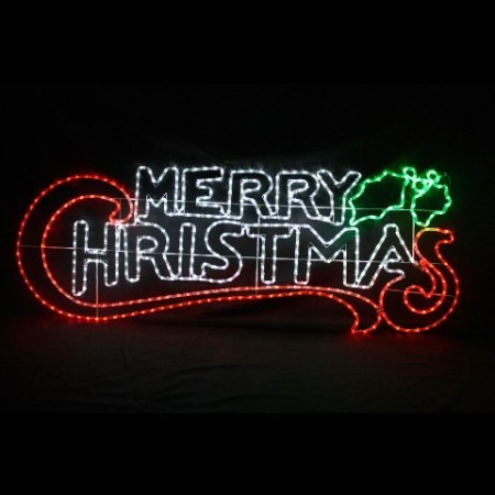 - Outdoor Neon LED White Red & Green Merry Christmas Light