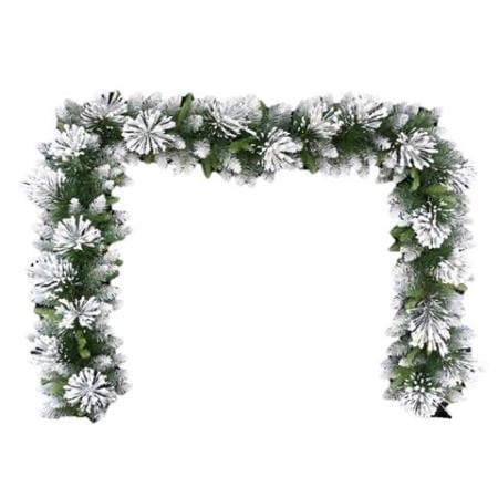 270cm Frosted Green Mixed Pine Needle Christmas Garland 200 tips