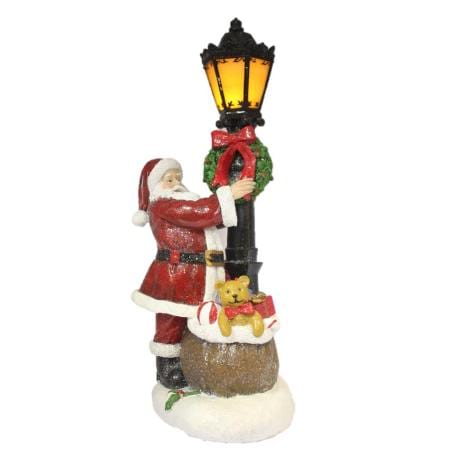 38cm Light up LED Ceramic Santa with Gift Sack and Lamp Post Christmas Decoration
