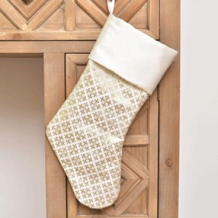 Glitter Gold Print Christmas Stocking Decoration